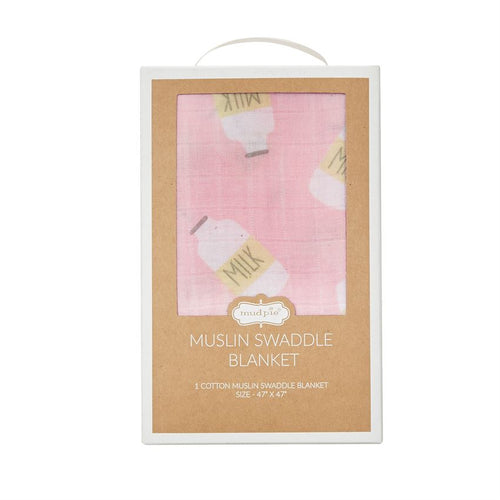 Pink Milk Muslin Swaddle Blanket
