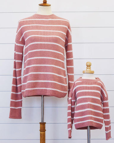 Brooke Mommy and Me Sweater - Dusty Mauve and White Striped (Girls)