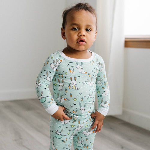 Mint Bunnies Bamboo Viscos 2-Piece Pajama Set