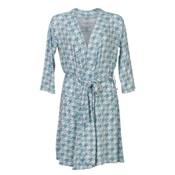 Teal Houndstooth Mommy Robe