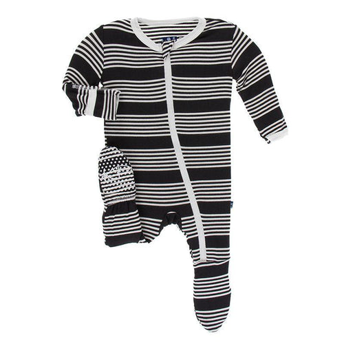 Print Footie with Zipper - Zebra Agriculture Stripe