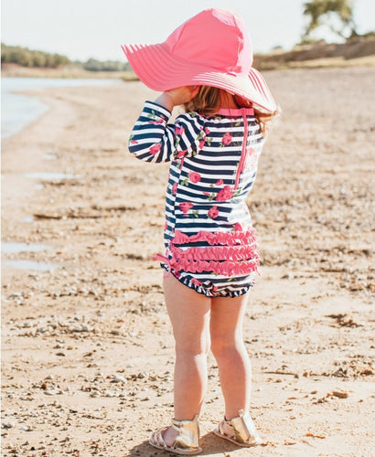 Rosy Floral Stripe One Piece Rash Guard