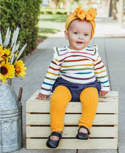 Golden Yellow Cable-Knit Footless Tights