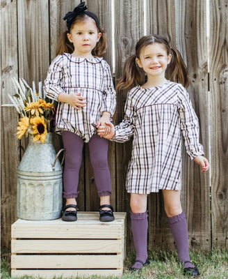 Shadow Purple Footless Ruffle Tights