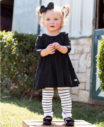 Black and White Stripe Footless Ruffle Tights