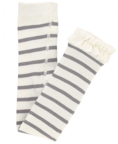 Gray & Ivory Stripe Footless Ruffle Tights