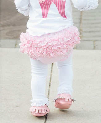 White Footless Ruffle Tights