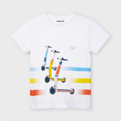 White Short Sleeve Scooter T-Shirt