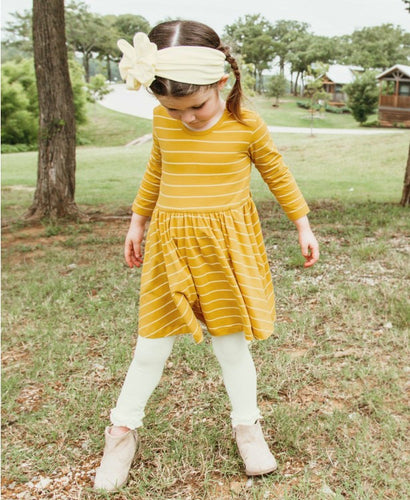Golden Yellow & Ivory Stripe Twirl Dress