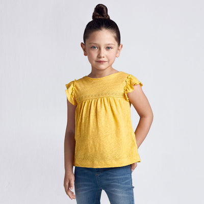Mustard Short Sleeved Linen T-Shirt- Girl