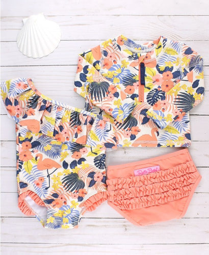 Tropical Flamingo Long Sleeve Zipper Rash Guard Bikini