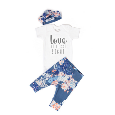 Newborn Outfit- Love at First Sight Slate Floral Short Sleeve