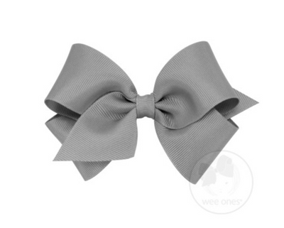 Small Classic Grosgrain Bow - Gray