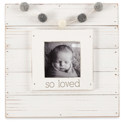 White So Loved Garland and Frame