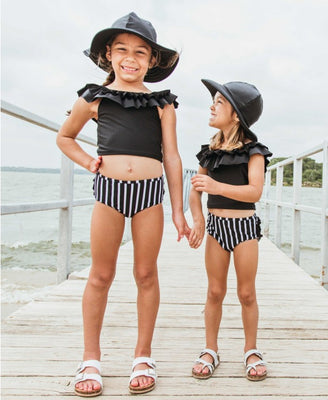 Black & White Stripe Ruffled Tankini