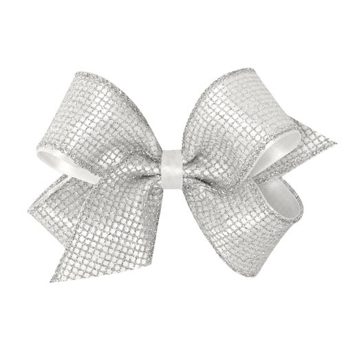 King Geometric Glitter Overlay Bow- Silver