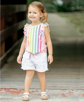 Rainbow Stripe Ruffle Tie Top