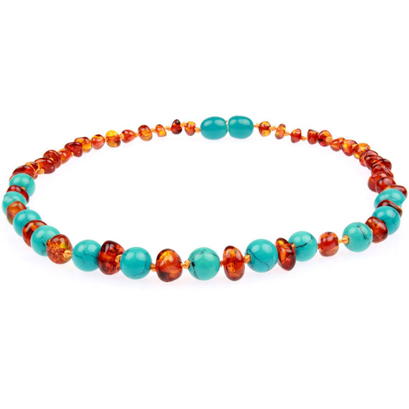 Amber Teething Necklace - Cognac & Turquoise Baltic Amber