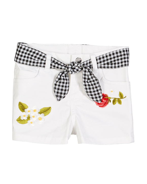 Twill Embroidered Shorts- White