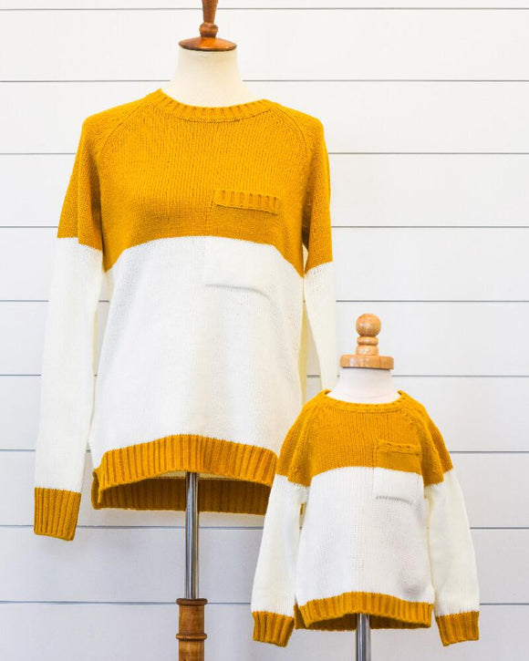 Danielle Mommy and Me Pocket Sweater - White and Yellow (Girls)