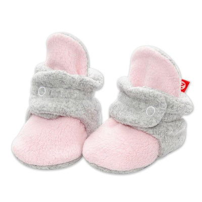 Cozie Fleece Color Block Baby Bootie - Baby Pink/Heather Gray