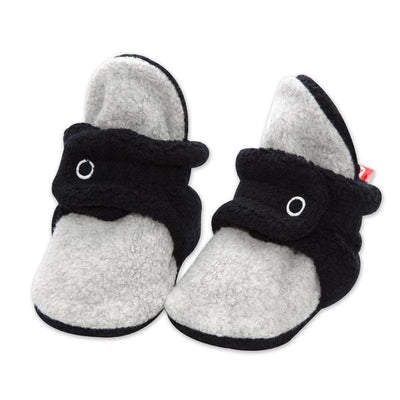 Cozie Fleece Color Block Baby Bootie - Black/Heather Gray