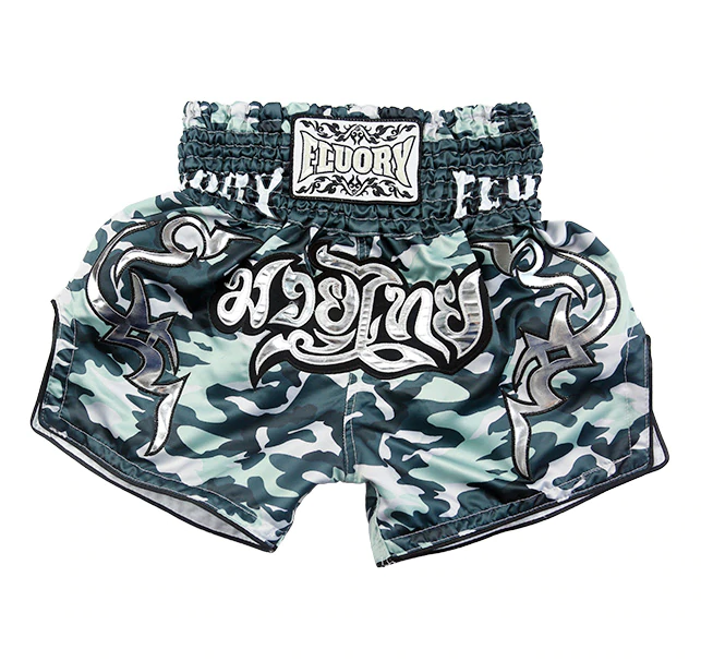 Dark Green Camo Fluory Muay Thai Shorts