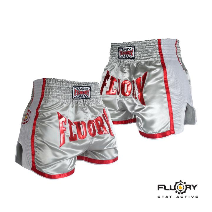 Slick White Fluory Muay Thai Shorts
