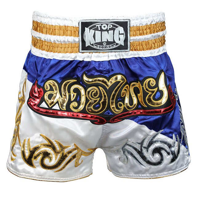 TOP KING Blue/White Muay Thai Shorts