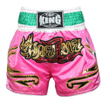 TOP KING Pink/Green Muay Thai Shorts