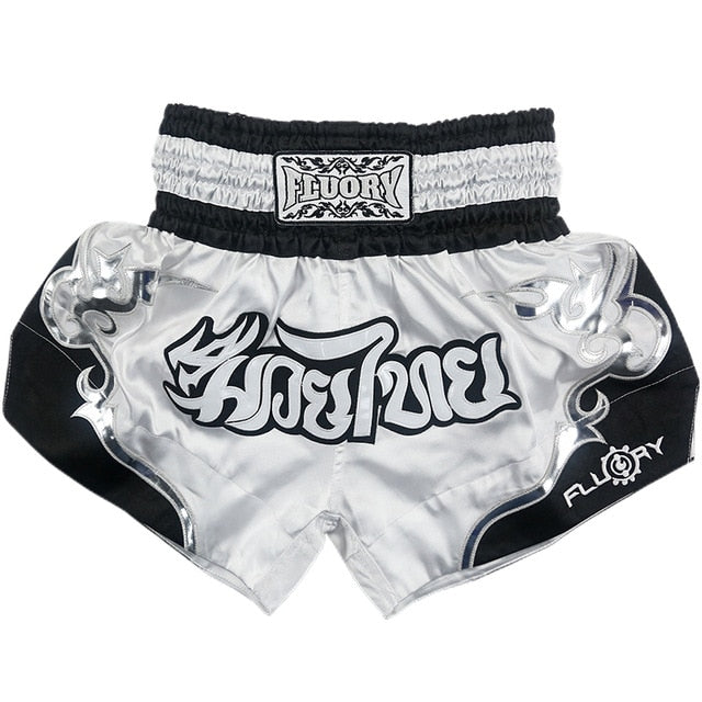Pure White/Silver Fluory Fight Shorts