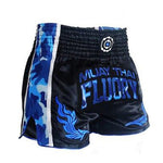 Camo Blue Fluory Muay Thai Shorts