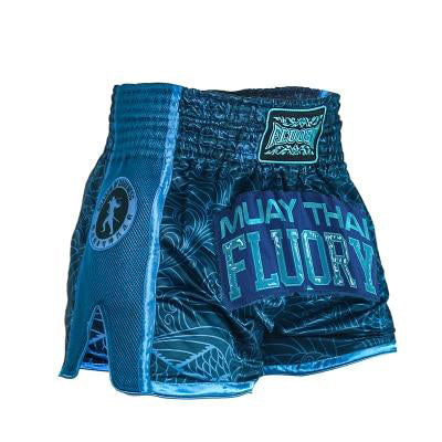 Ninja Blue Fluory Muay Thai Shorts