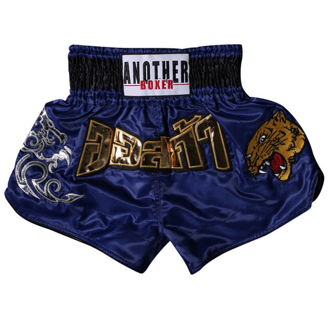 ANOTHER BOXER Fierce Leopard Dark Blue Muay Thai Shorts
