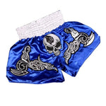 Grey Skull Blue Muay Thai Shorts