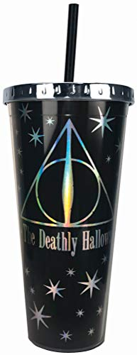 Vaso Harry Potter Deathly Hallows Foil Cup w/Straw, 20 Oz,