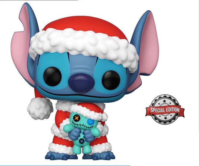Funko Pop Disney: Lilo y Stitch - Santa Stitch con Trapo Exclusivo