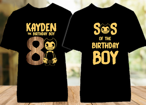 Bendy and The Ink Machine Birthday Party Personalized Color T Shirt - 2 Pack