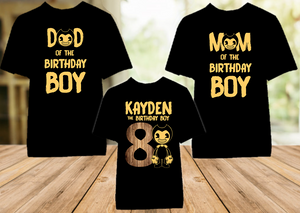 Bendy and The Ink Machine Birthday Party Personalized Color T Shirt - 3 Pack