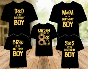 Bendy and The Ink Machine Birthday Party Personalized Color T Shirt - 5 Pack