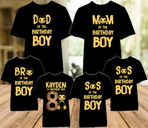Bendy and The Ink Machine Birthday Party Personalized Color T Shirt - 6 Pack