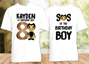 Bendy and The Ink Machine Birthday Party Personalized T Shirt or Onesie - 2 Pack