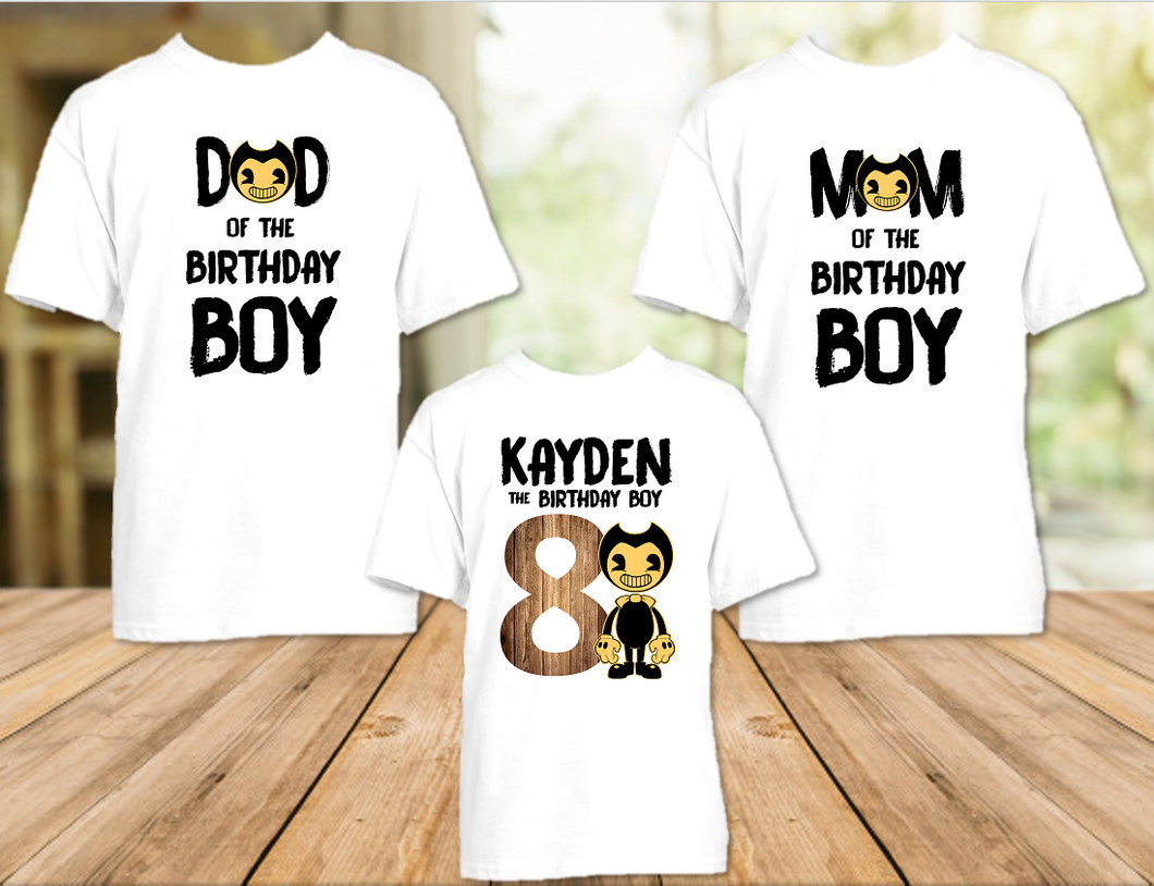 Bendy and The Ink Machine Birthday Party Personalized T Shirt or Onesie - 3 Pack