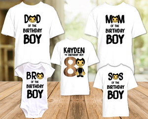 Bendy and The Ink Machine Birthday Party Personalized T Shirt or Onesie - 5 Pack