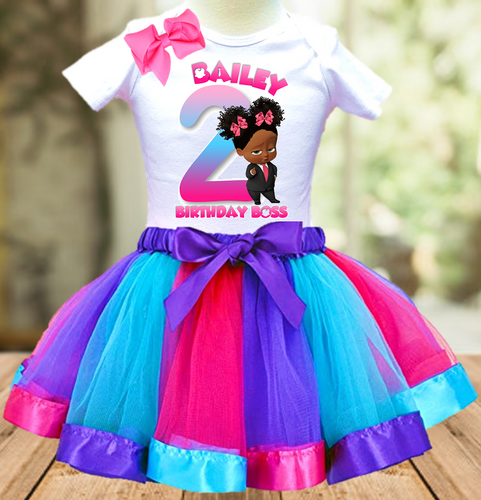 Boss Baby Black Girl Birthday Party Personalized Ribbon Tutu Outfit - All Sizes Available - BBTO02