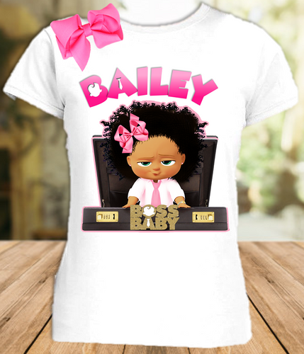 Boss Baby Black Girl Party Personalized T Shirt or Onesie with Hair Bow - All Sizes Available  - BB0012H