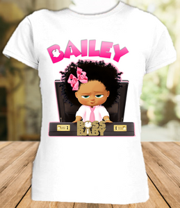 Boss Baby Black Girl Party Personalized T Shirt or Onesie - All Sizes Available  - BB0012