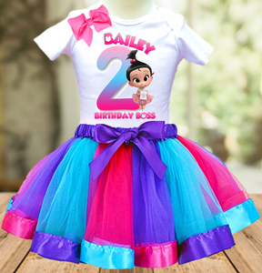 Boss Baby Staci Birthday Party Personalized Ribbon Tutu Outfit - All Sizes Available - BBTO03