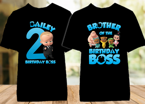 Boss Baby Birthday Party Personalized Color T Shirt - 2 Pack - BB2P01