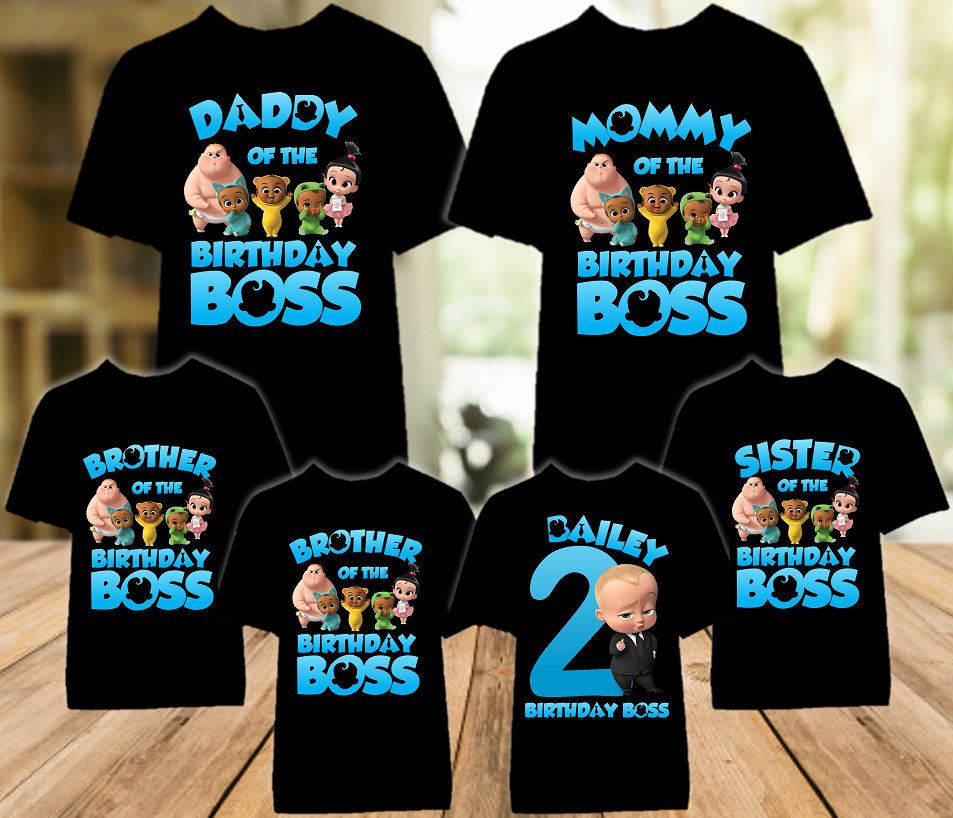 Boss Baby Birthday Party Personalized Color T Shirt - 6 Pack - BB6P01